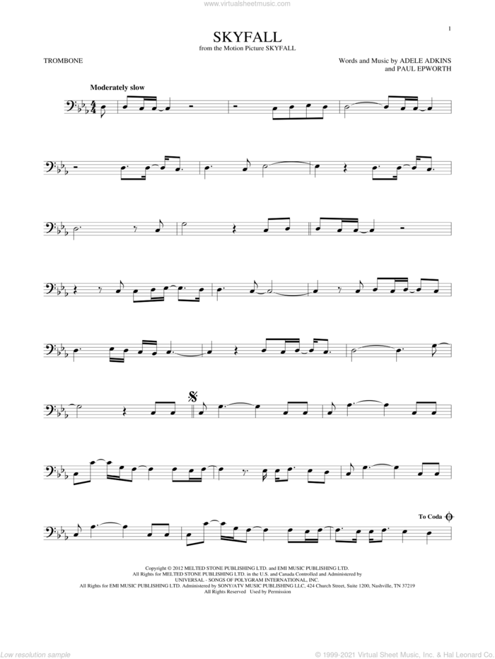 Skyfall sheet music for trombone solo by Adele, Adele Adkins and Paul Epworth, intermediate skill level