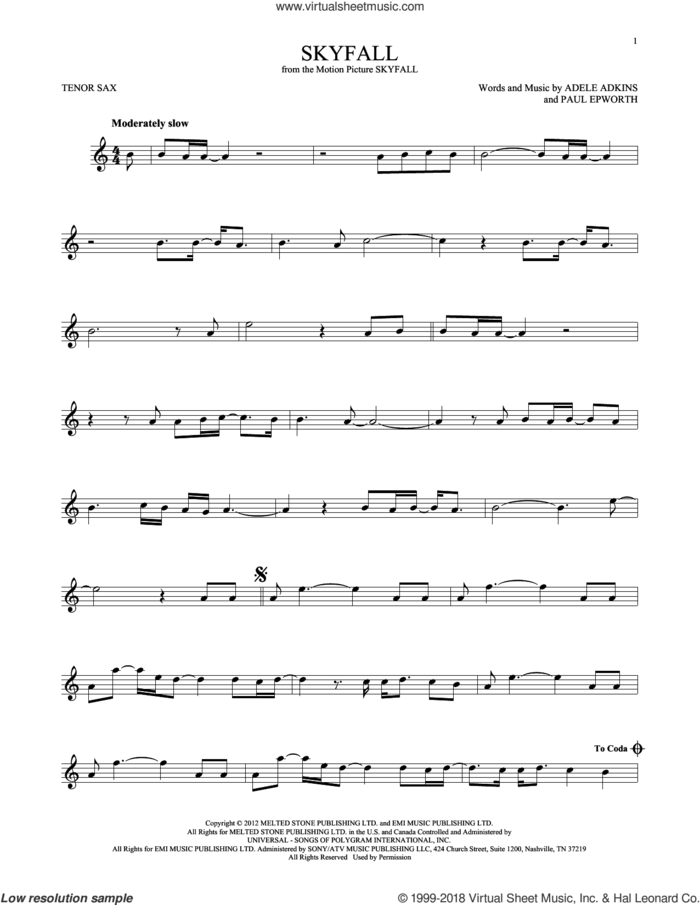 Skyfall sheet music for tenor saxophone solo by Adele, Adele Adkins and Paul Epworth, intermediate skill level