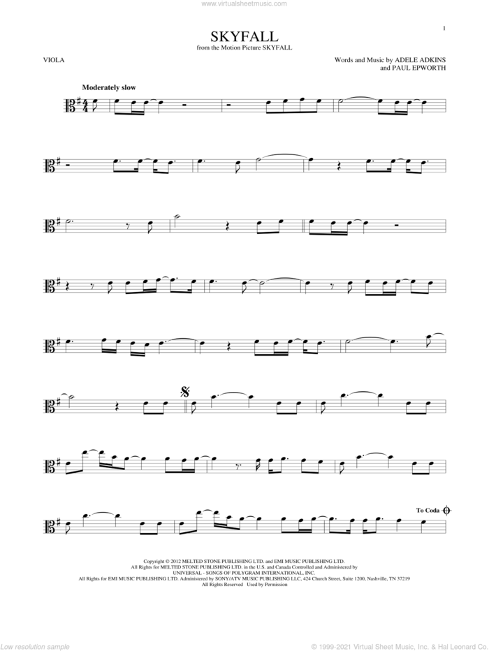 Skyfall sheet music for viola solo by Adele, Adele Adkins and Paul Epworth, intermediate skill level