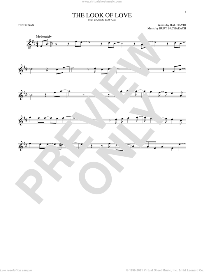 The Look Of Love sheet music for tenor saxophone solo by Sergio Mendes & Brasil '66, Burt Bacharach and Hal David, intermediate skill level