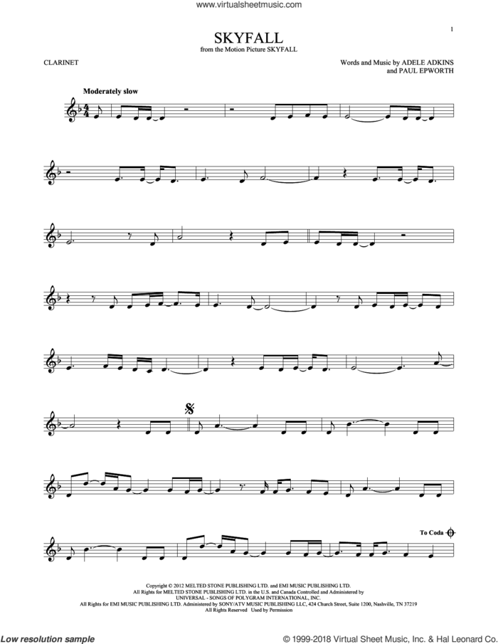 Skyfall sheet music for clarinet solo by Adele, Adele Adkins and Paul Epworth, intermediate skill level