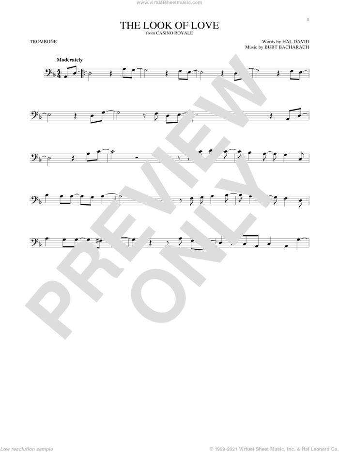 The Look Of Love sheet music for trombone solo by Sergio Mendes & Brasil '66, Burt Bacharach and Hal David, intermediate skill level