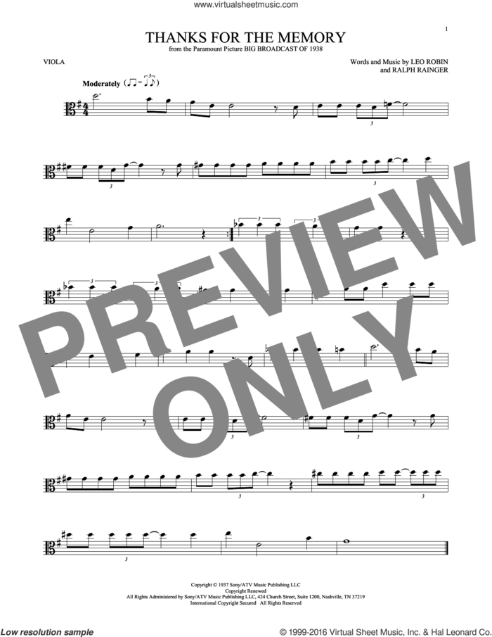 Thanks For The Memory sheet music for viola solo by Leo Robin, Dave McKenna, Mildred Bailey, Shep Fields and Ralph Rainger, intermediate skill level