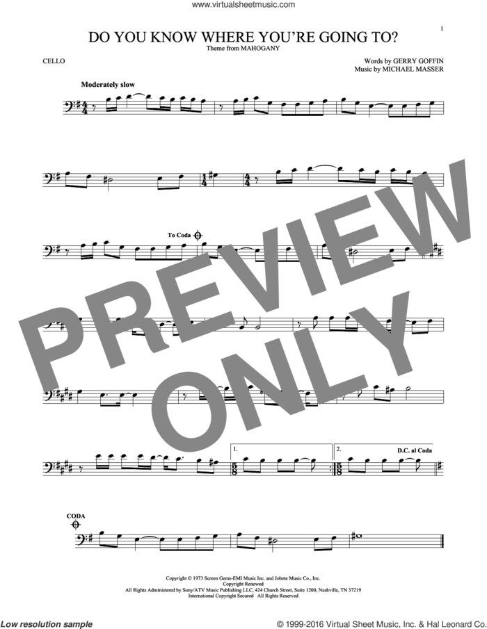 Do You Know Where You're Going To? sheet music for cello solo by Diana Ross, Gerry Goffin and Michael Masser, intermediate skill level