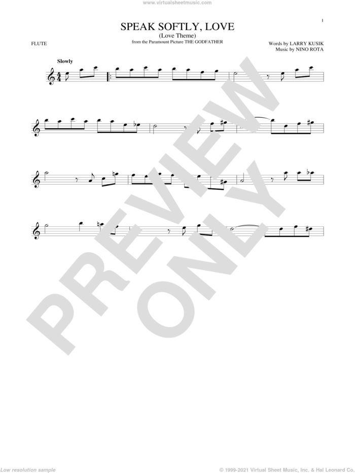 Speak Softly, Love (Love Theme) sheet music for flute solo by Andy Williams, Larry Kusik and Nino Rota, intermediate skill level