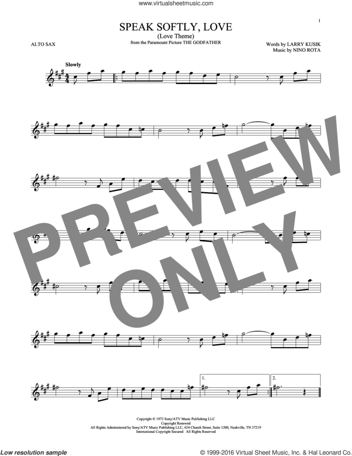 Speak Softly, Love (Love Theme) sheet music for alto saxophone solo by Nino Rota, Andy Williams and Larry Kusik, intermediate skill level
