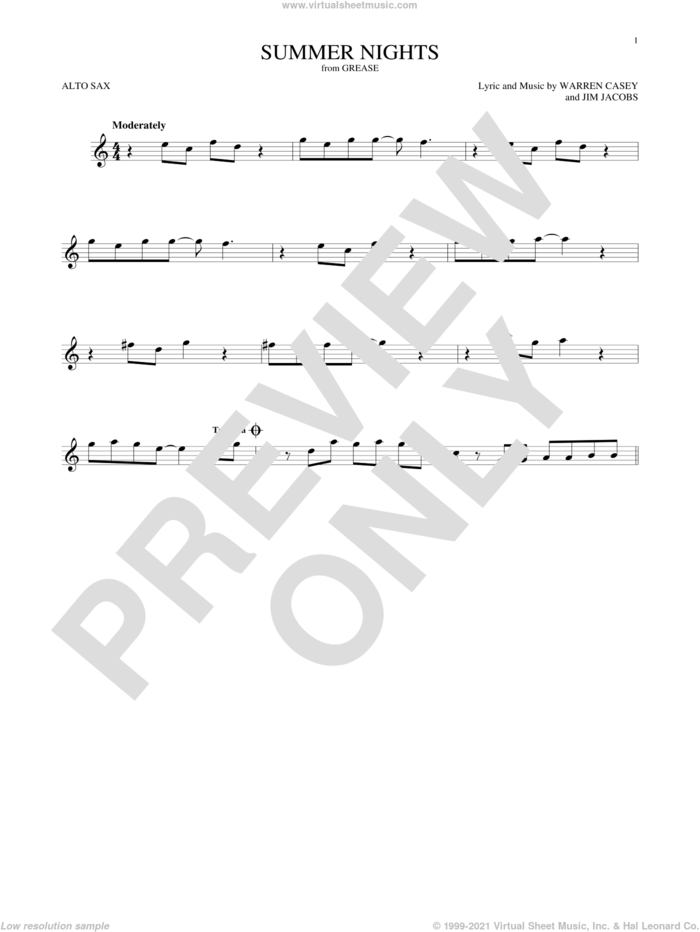 Summer Nights sheet music for alto saxophone solo by Jim Jacobs and Warren Casey, intermediate skill level