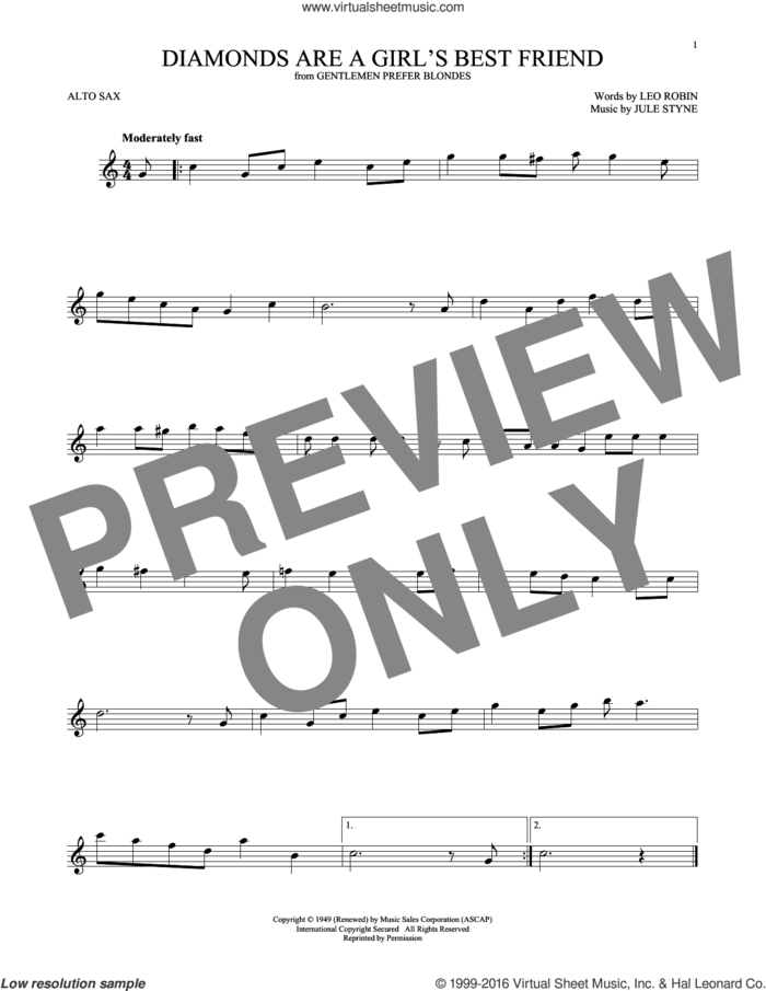 Diamonds Are A Girl's Best Friend sheet music for alto saxophone solo by Jule Styne and Leo Robin, intermediate skill level
