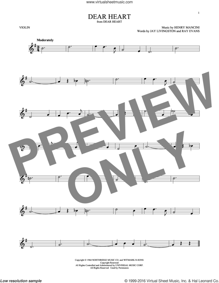 Dear Heart sheet music for violin solo by Henry Mancini, Jay Livingston and Ray Evans, intermediate skill level