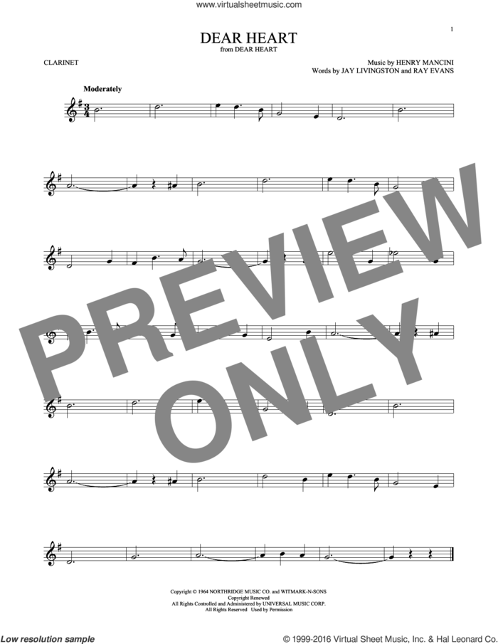 Dear Heart sheet music for clarinet solo by Henry Mancini, Jay Livingston and Ray Evans, intermediate skill level