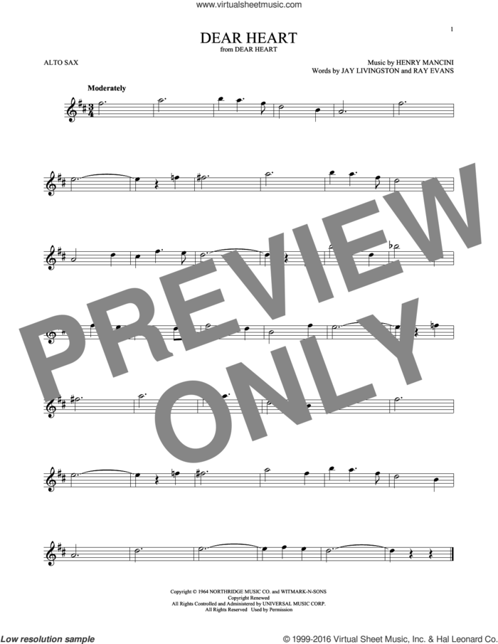 Dear Heart sheet music for alto saxophone solo by Henry Mancini, Jay Livingston and Ray Evans, intermediate skill level