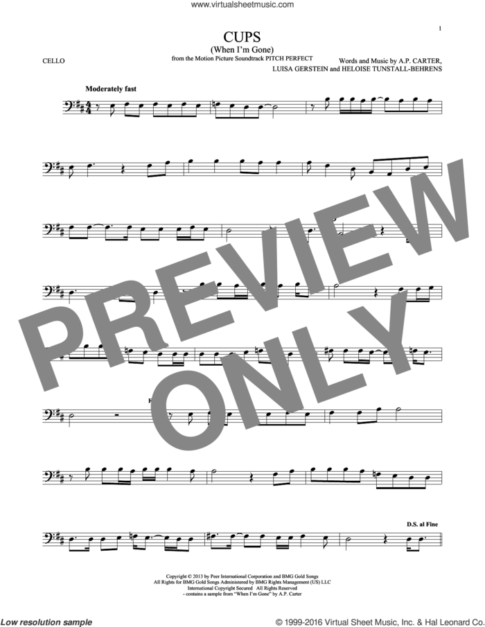 Cups (When I'm Gone) sheet music for cello solo by Anna Kendrick, A.P. Carter, Heloise Tunstall-Behrens and Luisa Gerstein, intermediate skill level