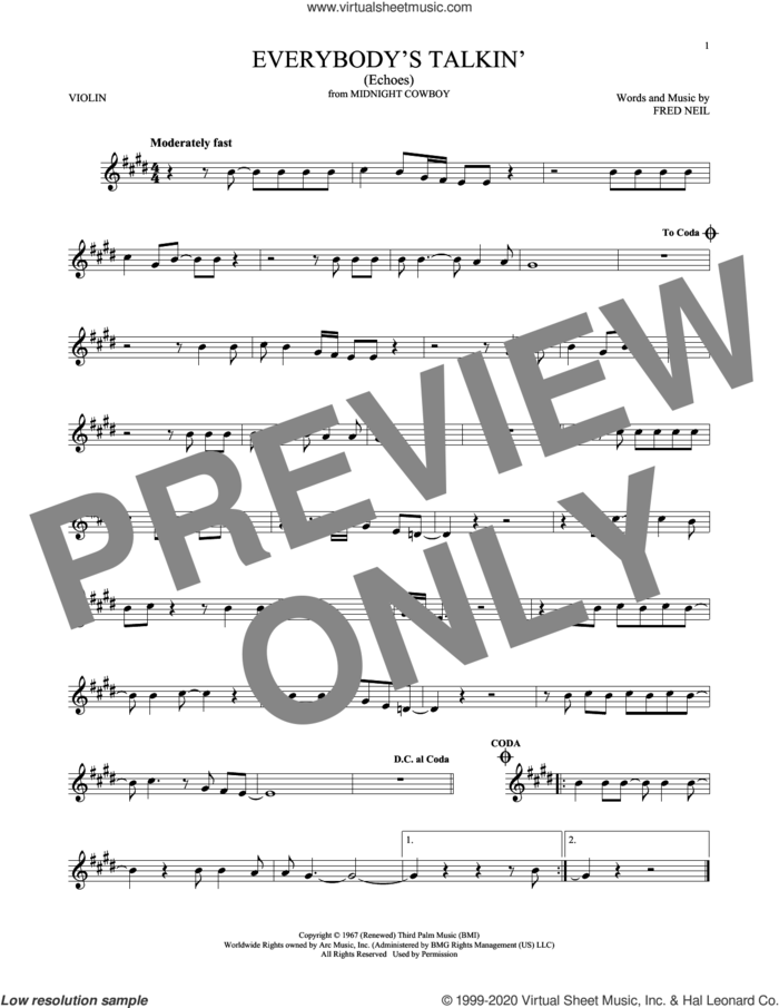 Everybody's Talkin' (Echoes) sheet music for violin solo by Harry Nilsson and Fred Neil, intermediate skill level