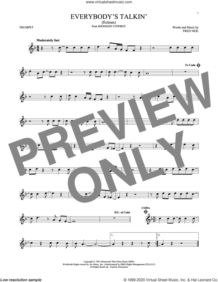 Everybody's Talkin' (Echoes) sheet music for trumpet solo by Harry Nilsson and Fred Neil, intermediate skill level