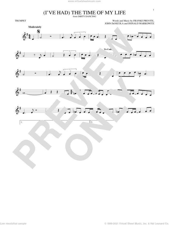 (I've Had) The Time Of My Life sheet music for trumpet solo by Bill Medley & Jennifer Warnes, Donald Markowitz, Franke Previte and John DeNicola, intermediate skill level
