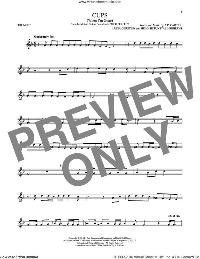 Cups (When I'm Gone) sheet music for trumpet solo by Anna Kendrick, A.P. Carter, Heloise Tunstall-Behrens and Luisa Gerstein, intermediate skill level