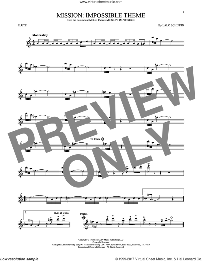 Mission: Impossible Theme sheet music for flute solo by Lalo Schifrin, intermediate skill level