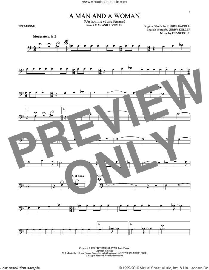 A Man And A Woman (Un Homme Et Une Femme) sheet music for trombone solo by Herbie Mann and Tamiko Jones, Francis Lai, Jerry Keller and Pierre Barouh, intermediate skill level