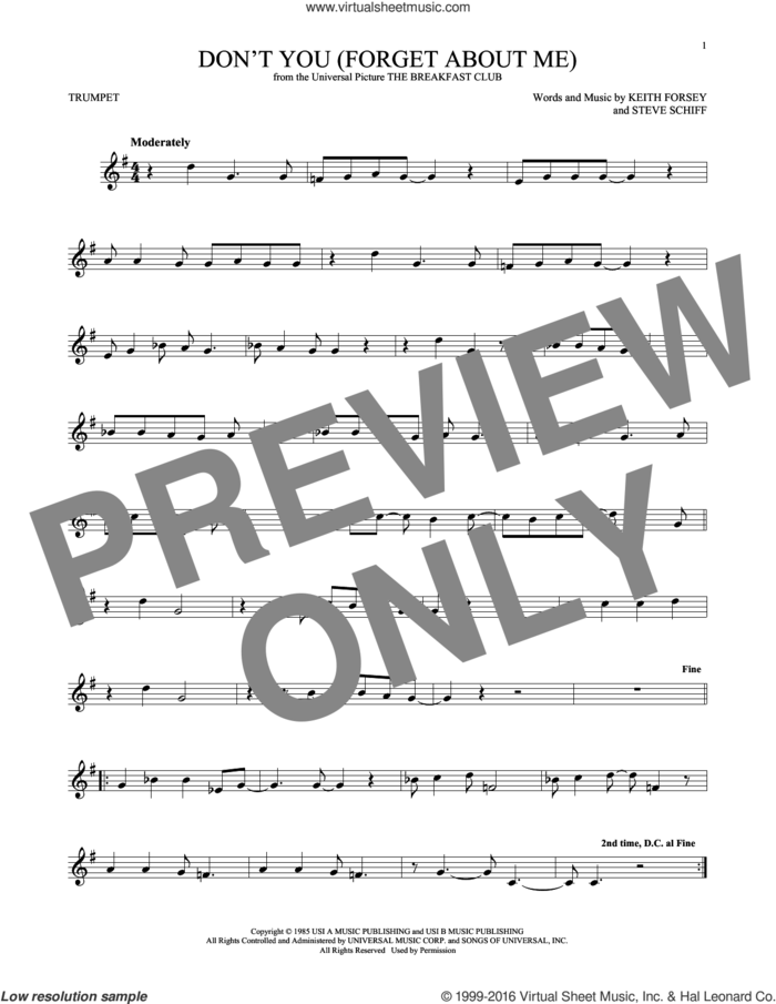 Don't You (Forget About Me) sheet music for trumpet solo by Simple Minds, Hawk Nelson, Keith Forsey and Steve Schiff, intermediate skill level