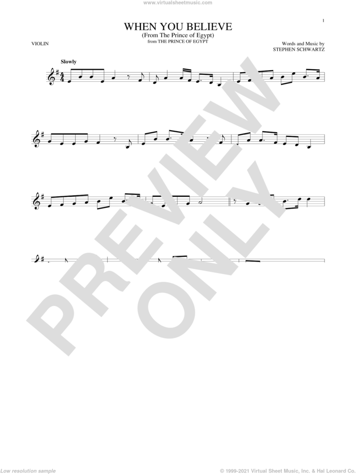 When You Believe (from The Prince Of Egypt) sheet music for violin solo by Whitney Houston and Mariah Carey and Stephen Schwartz, intermediate skill level