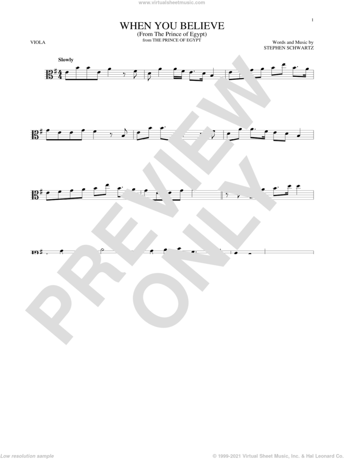 When You Believe (from The Prince Of Egypt) sheet music for viola solo by Whitney Houston and Mariah Carey and Stephen Schwartz, intermediate skill level