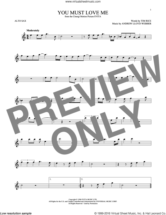 You Must Love Me (from Evita) sheet music for alto saxophone solo by Andrew Lloyd Webber, Madonna and Tim Rice, intermediate skill level