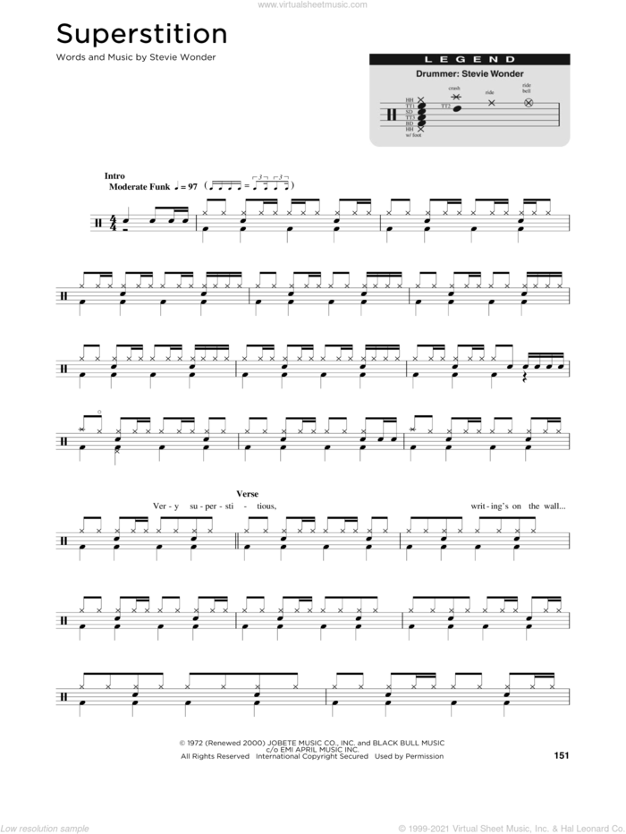 Superstition sheet music for drums (percussions) by Stevie Wonder, intermediate skill level
