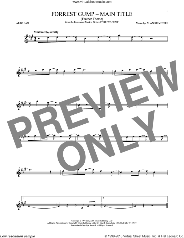 Forrest Gump - Main Title (Feather Theme) sheet music for alto saxophone solo by Alan Silvestri, intermediate skill level
