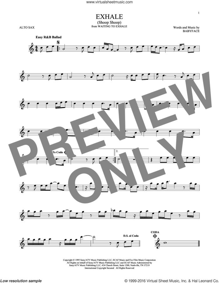Exhale (Shoop Shoop) sheet music for alto saxophone solo by Whitney Houston and Babyface, intermediate skill level