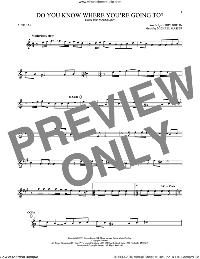 Do You Know Where You're Going To? sheet music for alto saxophone solo by Diana Ross, Gerry Goffin and Michael Masser, intermediate skill level