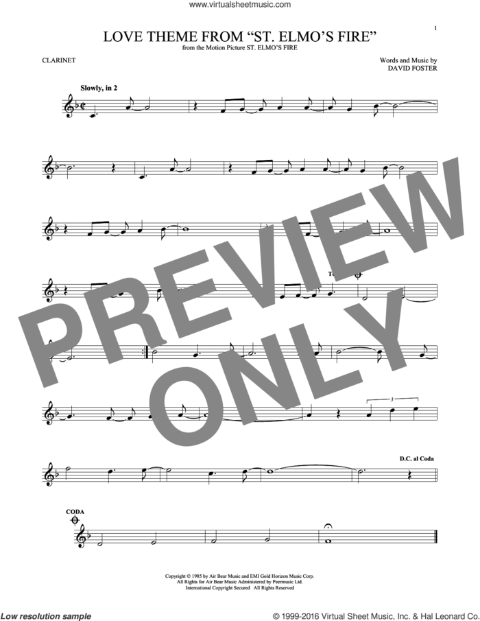 Love Theme From 'St. Elmo's Fire' sheet music for clarinet solo by David Foster, intermediate skill level