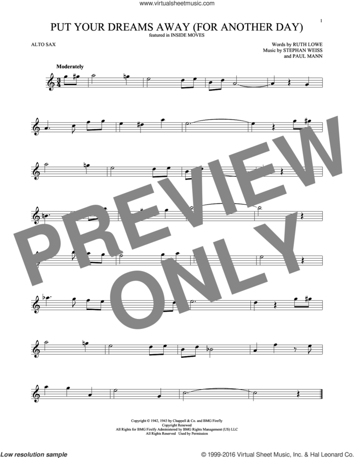 Put Your Dreams Away (For Another Day) sheet music for alto saxophone solo by Frank Sinatra, Paul Mann, Ruth Lowe and Stephen Weiss, intermediate skill level