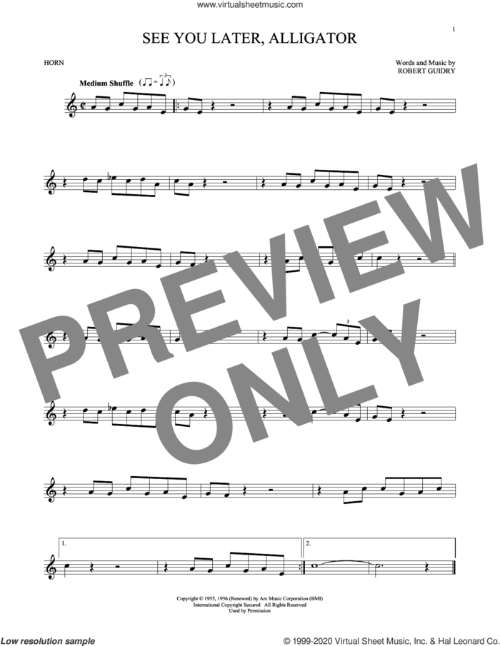 See You Later, Alligator sheet music for horn solo by Bill Haley & His Comets and Robert Guidry, intermediate skill level