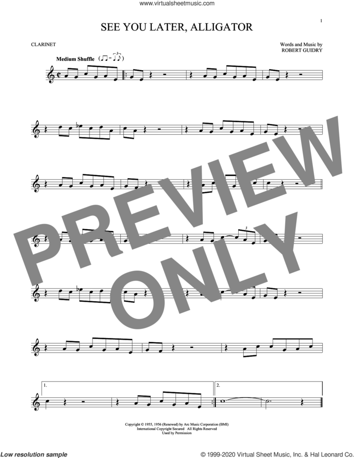 See You Later, Alligator sheet music for clarinet solo by Bill Haley & His Comets and Robert Guidry, intermediate skill level