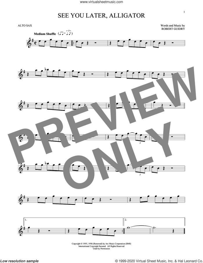 See You Later, Alligator sheet music for alto saxophone solo by Bill Haley & His Comets and Robert Guidry, intermediate skill level