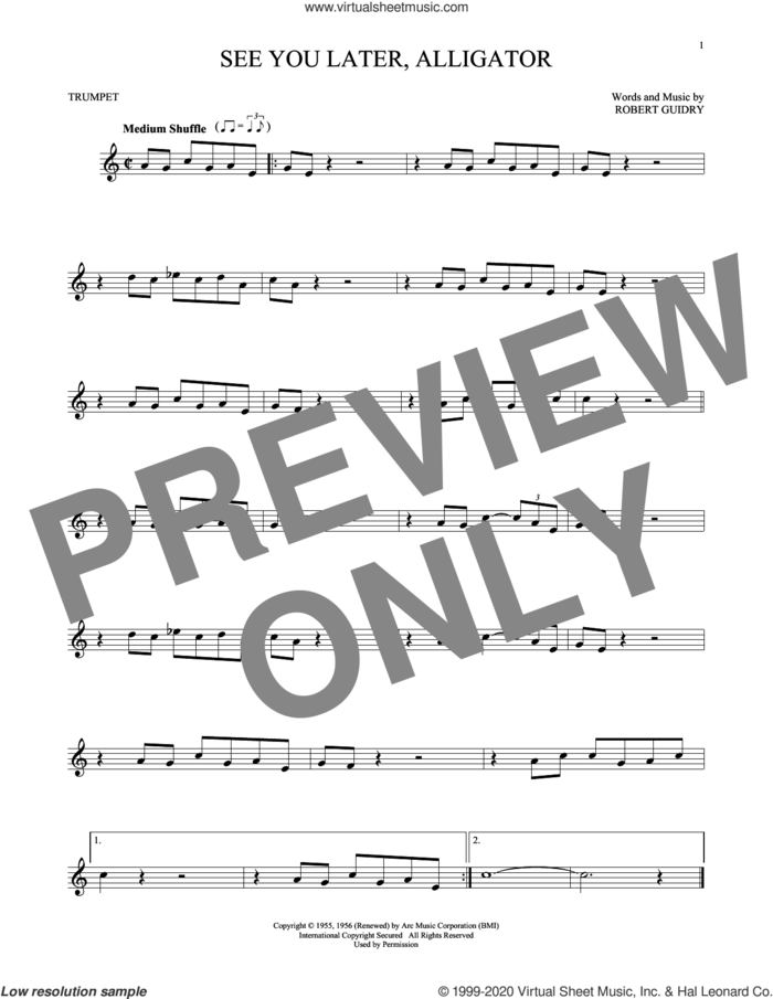 See You Later, Alligator sheet music for trumpet solo by Bill Haley & His Comets and Robert Guidry, intermediate skill level