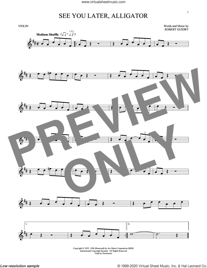 See You Later, Alligator sheet music for violin solo by Bill Haley & His Comets and Robert Guidry, intermediate skill level