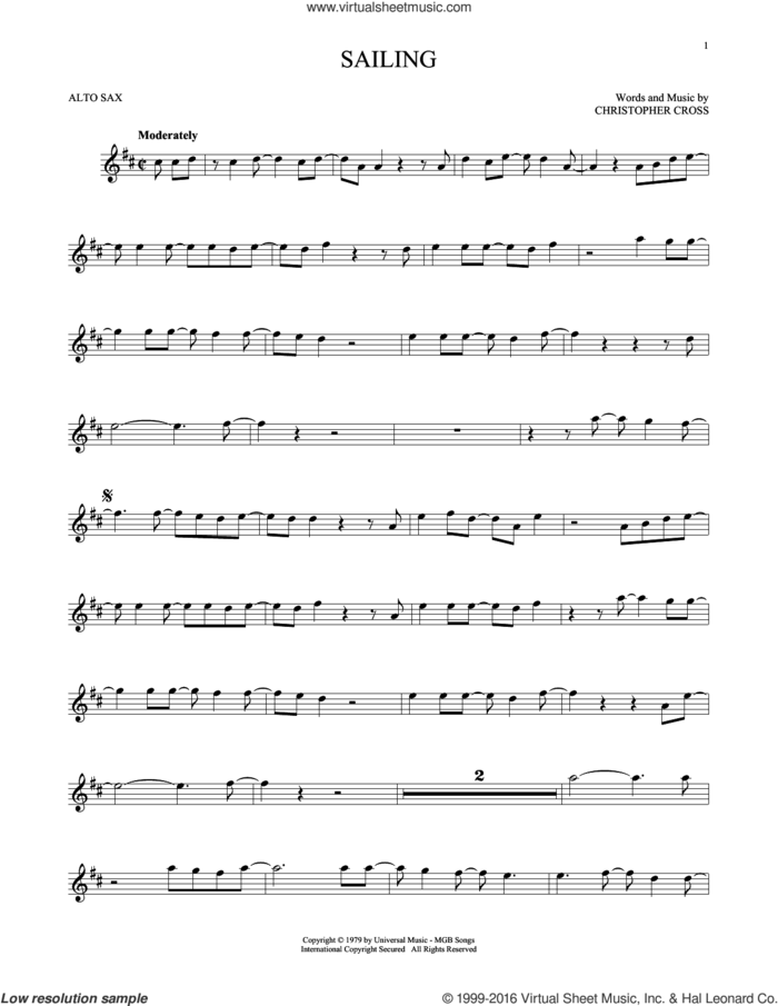 Sailing sheet music for alto saxophone solo by 'N Sync and Christopher Cross, intermediate skill level