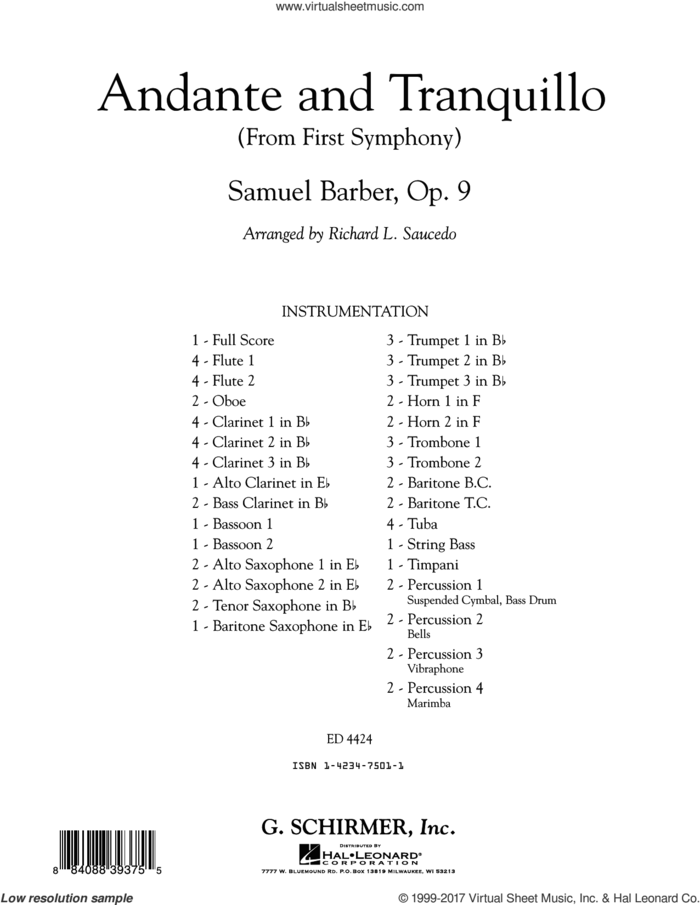Andante and Tranquillo (from First Symphony) (COMPLETE) sheet music for concert band by Richard L. Saucedo and Samuel Barber, classical score, intermediate skill level