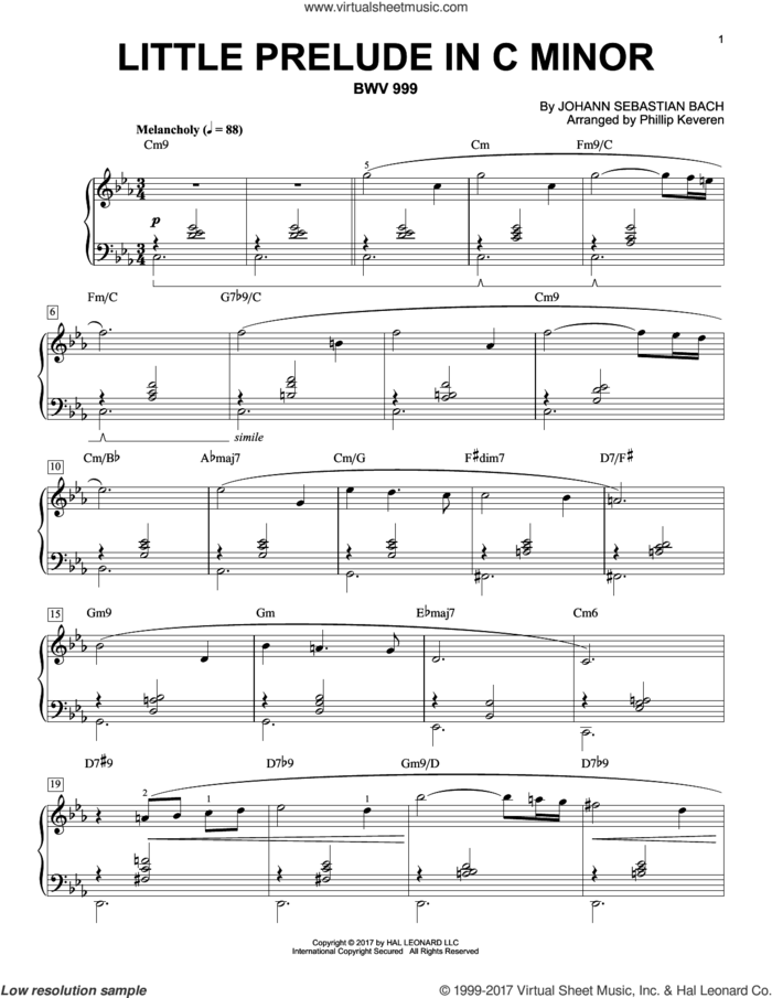 Little Prelude in C Minor, BWV 999 [Jazz version] (arr. Phillip Keveren) sheet music for piano solo by Johann Sebastian Bach and Phillip Keveren, classical score, intermediate skill level