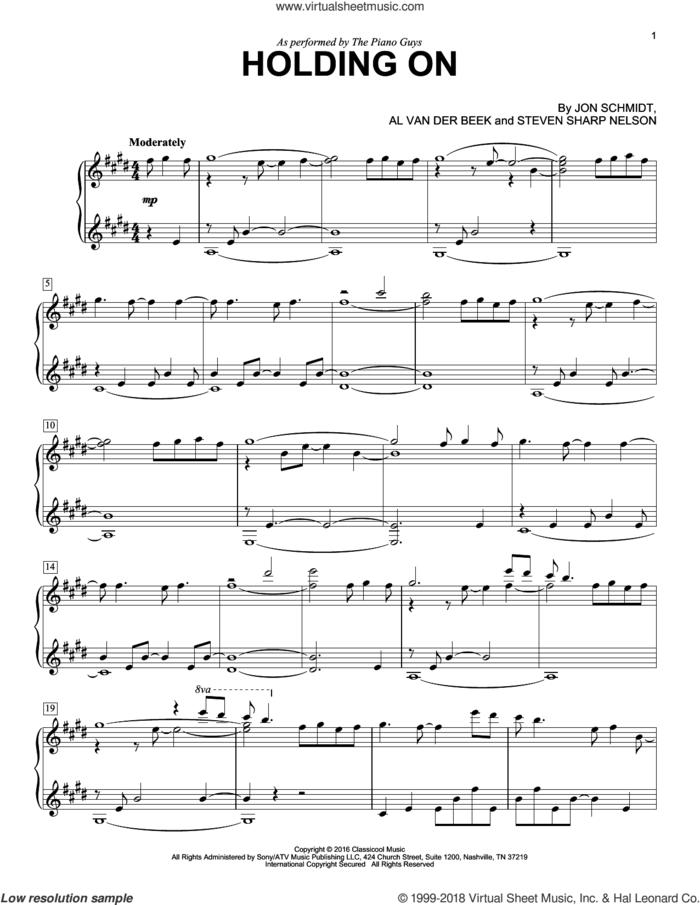 Holding On sheet music for piano solo by The Piano Guys, Al van der Beek, Jon Schmidt and Steven Sharp Nelson, intermediate skill level