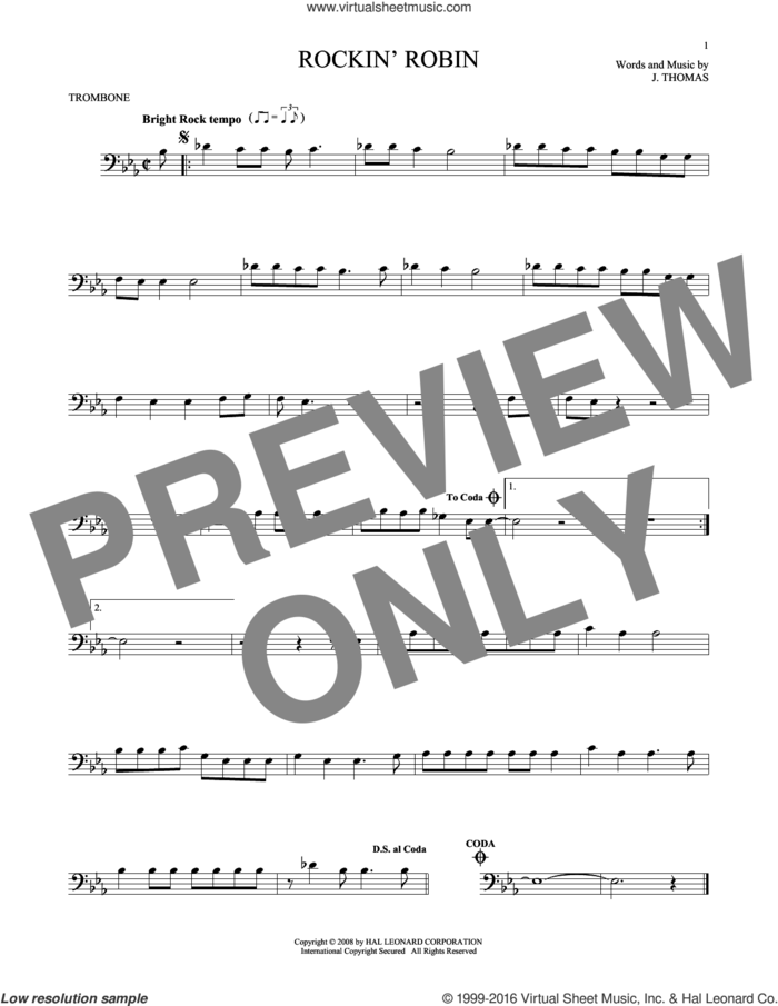 Rockin' Robin sheet music for trombone solo by Thomas Jimmie, Bobby Day and Michael Jackson, intermediate skill level