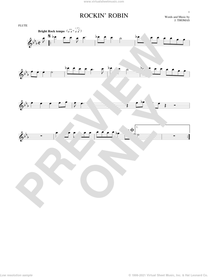 Rockin' Robin sheet music for flute solo by Thomas Jimmie, Bobby Day and Michael Jackson, intermediate skill level