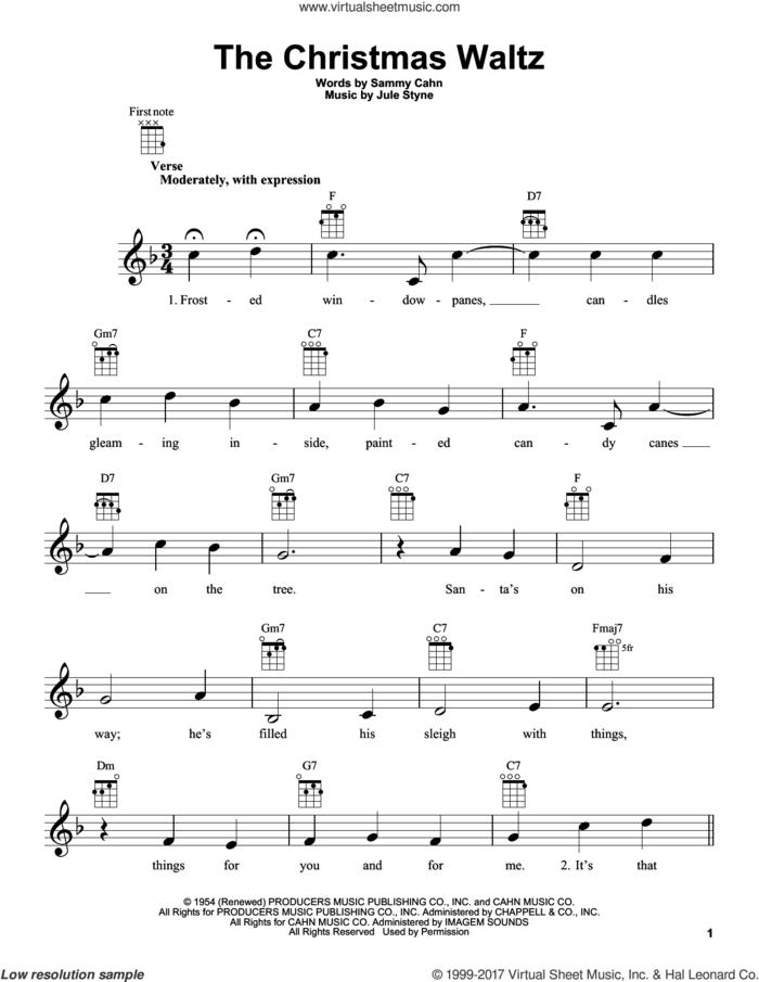 The Christmas Waltz sheet music for ukulele by Sammy Cahn and Jule Styne, intermediate skill level