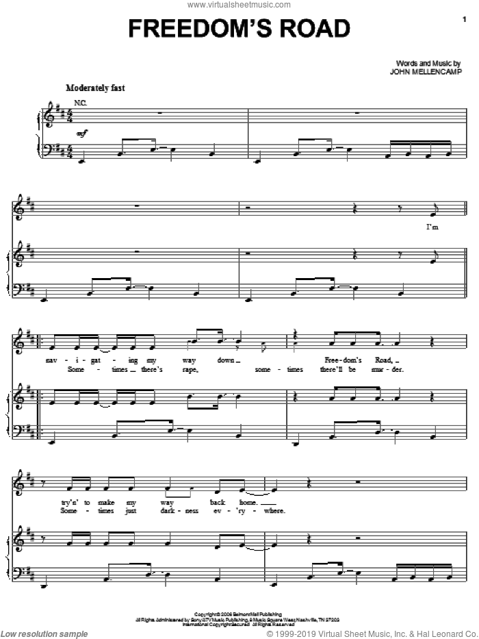 Freedom's Road sheet music for voice, piano or guitar by John Mellencamp, intermediate skill level