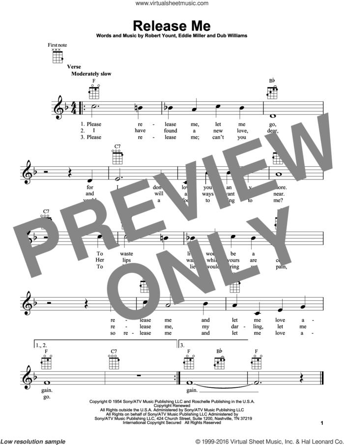 Release Me sheet music for ukulele by Engelbert Humperdinck, Elvis Presley, Ray Price, Dub Williams, Eddie Miller and Robert Yount, intermediate skill level