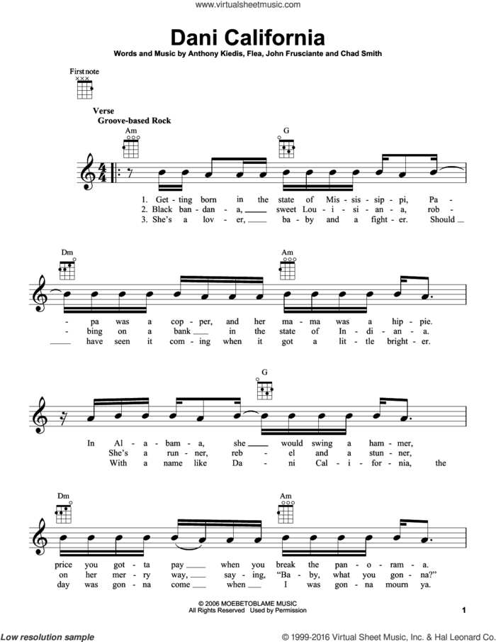 Dani California sheet music for ukulele by Red Hot Chili Peppers, Anthony Kiedis, Chad Smith, Flea and John Frusciante, intermediate skill level
