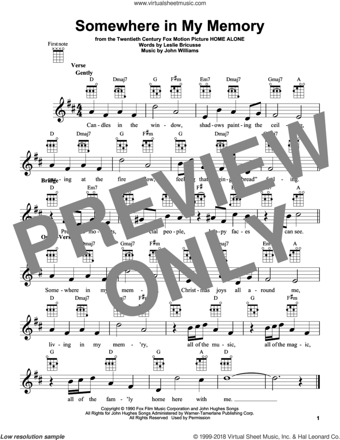 Somewhere In My Memory sheet music for ukulele by John Williams and Leslie Bricusse, intermediate skill level