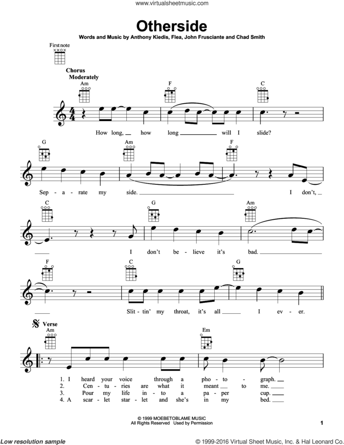 Otherside sheet music for ukulele by Red Hot Chili Peppers, Anthony Kiedis, Chad Smith, Flea and John Frusciante, intermediate skill level