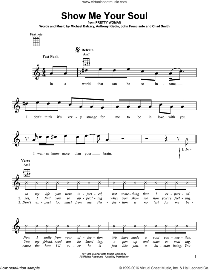 Show Me Your Soul sheet music for ukulele by Red Hot Chili Peppers, Anthony Kiedis, Chad Smith, John Frusciante and Michael Balzary, intermediate skill level